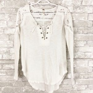Free People White Lace Up Paisley Crochet Henley